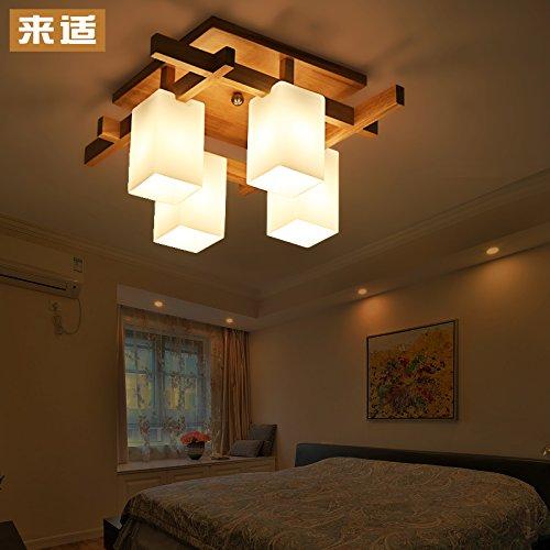 BLYC- 4 einfache moderne chinesischen Stil Tatami Zimmer Wohnzimmer Lampe Studie Schlafzimmer Deckenleuchten LED solide Holz Lampe 600 * 600 * 270 mm