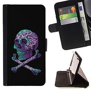 Momo Phone Case / Flip Funda de Cuero Case Cover - Cráneo púrpura Negro Teal Crossbones - HTC One A9