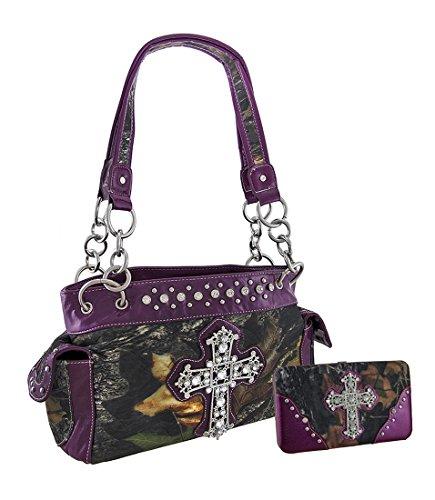 Purple Set Cross (Forest Camouflage Rhinestone Cross Purse/Wallet Set Purple Trim)