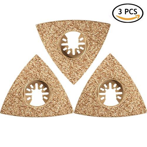 Triangular Blade, GOCHANGE 3 Pcs 80mm(3-1/8'') Triangular Carbide Grit Rasp Blade Suitable for Cutting Glass, Ceramic Tile, Concrete
