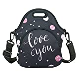 Neoprene Lunch Bag with Zipper Pocket & Strap Thermal Insulated Black Lunch Box Tote Waterproof for Women MenTeens Boys Teenage Girls