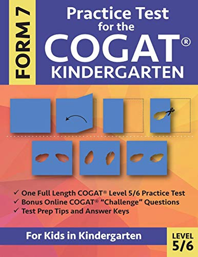 Pdf Teaching Practice Test for the COGAT Form 7 Kindergarten Level 5/6: Gifted and Talented Test Prep for Kindergarten, CogAT Kindergarten Practice Test; CogAT ... Workbook for Children in Kindergarten, GATE