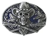 Western Skull with Rifles Belt Buckle