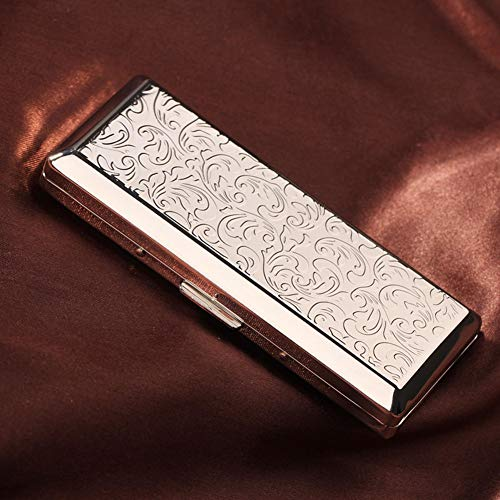 (NACHEN Stainless Steel Cigarette Case and Men and Women Lengthen Portable Ultra Thin Cigarettes Box,Silver,108X46X20MM)