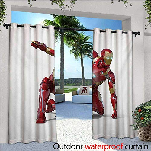 Superhero Outdoor Privacy Curtain for Pergola Robot Transformer Hero with Superpower in Costume Cyber Man Fun Character Print Thermal Insulated Water Repellent Drape for Balcony W72