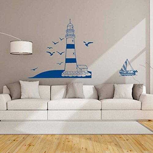 Wall Decals Blue Lighthouse PVC Wall Stickers - 1