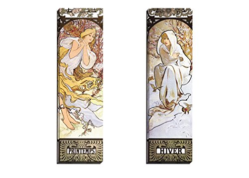 Portfolio Canvas Decor Framed and Stretched Ready to Hang Hiver Canvas Wall Art by Alphonse Mucha (Set of 2), 12 x 36