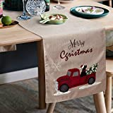 S-DEAL Christmas Table Runner Linen Burlap with Embroidery for Dinner Party Decor Family Dinners Gatherings Holiday 14x72 Inches