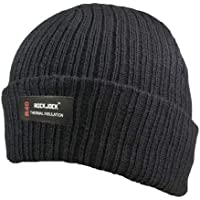 Mens Knitted Turn Up Thinsulate Thermal Winter Hat Black With (40g) Thinsulate lining SKI HAT
