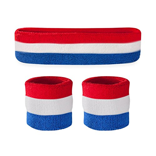 Suddora Kids Sweatband Set (1 Headband / 2 Wristbands) (Red White Blue)]()