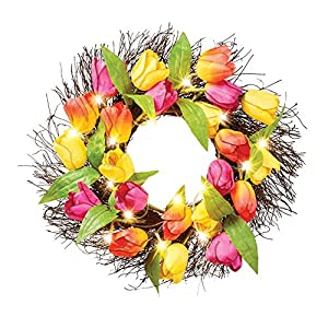 Collections Etc Pink Orange and Yellow Light Up Tulip Wreath - Spring Décor for Home or Outdoor Accent 2