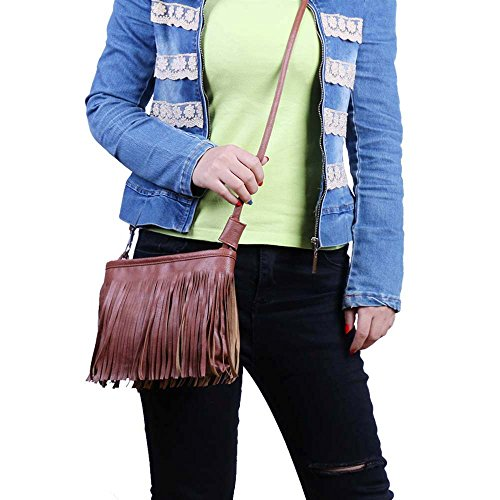 Cross Bag Cross Body Brown Fringed Bag Body Fringed Body Bag Cross Brown Fringed Brown Fringed 1ZnAwY