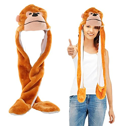 Toy Cubby Headgear Monkey Hat | Halloween Animal Head-wear Costume Accessory with Ultra Long Paws Masquerade Plushy Face. ()