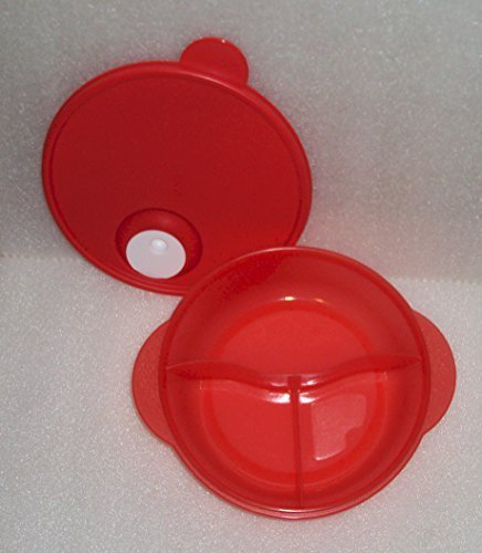 Tupperware CrystalWave Microwave Lunch N Dish Divided Bowl Red