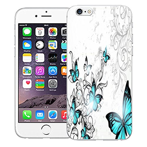 "Mobile Case Mate iPhone 6 4.7"" Silicone Coque couverture case cover Pare-chocs + STYLET - Blue Winged Butterfly pattern (SILICON)"