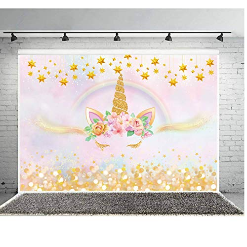 Haboke 7×5ft Soft/Durable Fabric Golden Unicorn Backdrop Gold Rainbow and Pink Photography Background for Kids Birthday Baby Shower Newborn Party Decorations Banner Supplies Photo Studio Props from Haboke