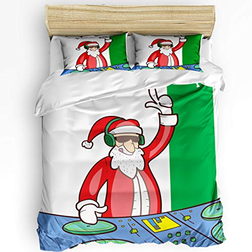 3 Piece Bedding Set Queen, DJing Santa Claus Duvet Cover Set for Girls Boys Children Adult, Ultra Soft and Easy Care Sheet Quilt Sets with Decorative Pillow Covers