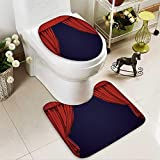 aolankaili 2 Piece Toilet lid cover mat set Theater curtain Presentation Movies Washable Non-Slip