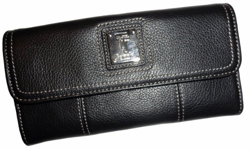 Women's Tignanello Wallet Touchables Flap Check Clutch Genuine Leather Black, Bags Central