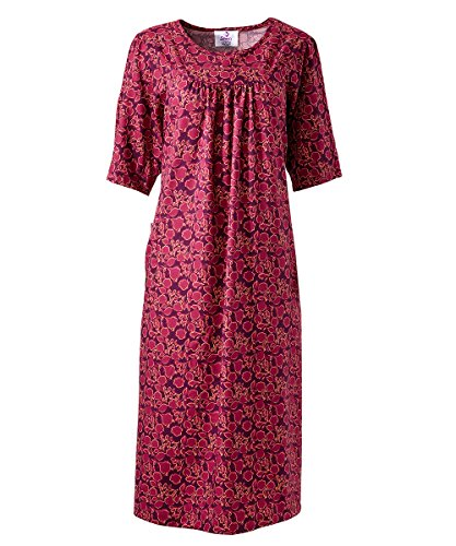 Silverts Disabled Elderly Needs Adaptive Full Open Back Snap Dress - Great for Caregiver Assisted Dressing - Designed for needs of Individuals who use a wheelchair or struggle with - Plum Floral Med