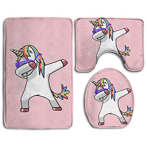 BesArts Perfect Gifts - Dabbing Rainbow Unicorn Dab Dance Skidproof Toilet Seat Cover Bath Mat Lid Cover from BesArts