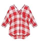Smibra Womens Plus Size Half Sleeve V Neck Collar Plaid Button-Down Shirt Blouse Top Red XXXXXL