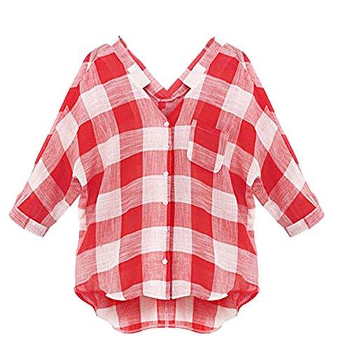 Smibra Womens Plus Size Half Sleeve V Neck Collar Plaid Button-Down Shirt Blouse Top Red XXXXXL by Smibra