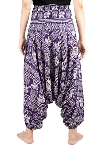 Viola Pavone Lofbaz Jumpsuit Waist Floreale Funky Harem Donna 4 Elefante Pantaloni Scuro Smocked Elephant xqqr87XZ