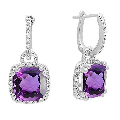 Dazzlingrock Collection 10K 8 MM Each Cushion Cut Amethyst & Round White Diamond Ladies Dangling Drop Earrings, White Gold