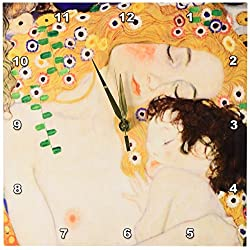 3dRose dpp_157653_1 Mother and Child by Gustav Klimt-1905-Detail from The Three Ages of Woman-Mom and Baby Love-Wall Clock, 10 by 10-Inch