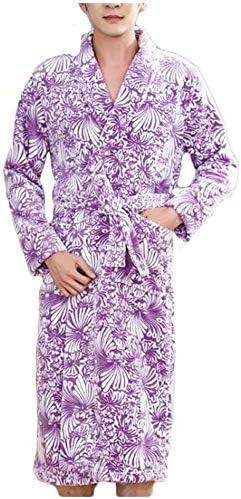 パジャマ CHJMJP メンズ秋と冬のフランネルドレス肥厚ロングコーラルフリースバスローブ印刷バスローブパジャマナイトウェア (Color : 02, Size : M)