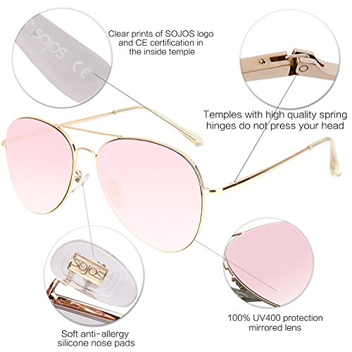 SOJOS Classic Aviator Mirrored Flat Lens Sunglasses Metal Frame with Spring Hinges SJ1030 With Gold Frame/Pink Mirrored Lens by SOJOS (Image #4)