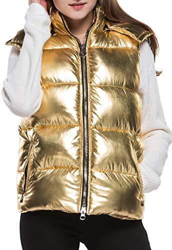 JOKHOO Women Lightweight Down Vest Outdoor Puffer Vest (Gold, XL)