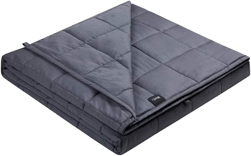 ZonLi Queen Weighted Blanket 17 lbs(60''x80'', Queen Size, Grey), Cooling Weighted Blanket for Adults, 2.0 Weighted Blanket Adult Summer, 100% Cotton Material with Glass Beads