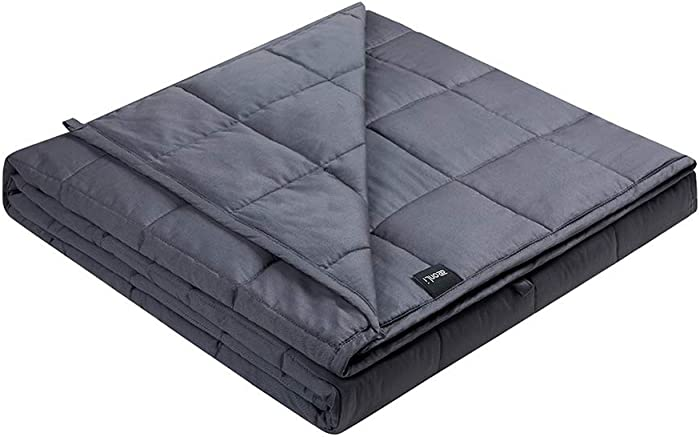 ZonLi Softest Weighted Blanket 12 lbs(48''x72'', Twin Size, Grey), Cooling Weighted Blanket for Adults, 100% Cotton Material with Glass Beads