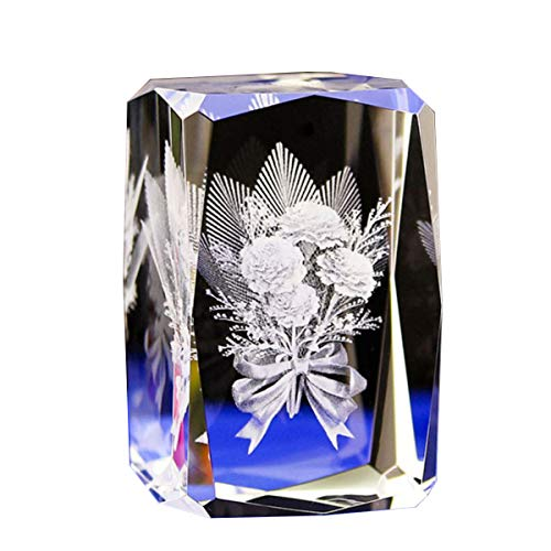 Jaswass 3D Laser Etched Crystal Flower 2x2x3.14 Inch with Gift Box for Anniversary Keepsake & Paperweight, Wedding Souvenirs, Christmas Birthday Valentines Wedding Gift ()