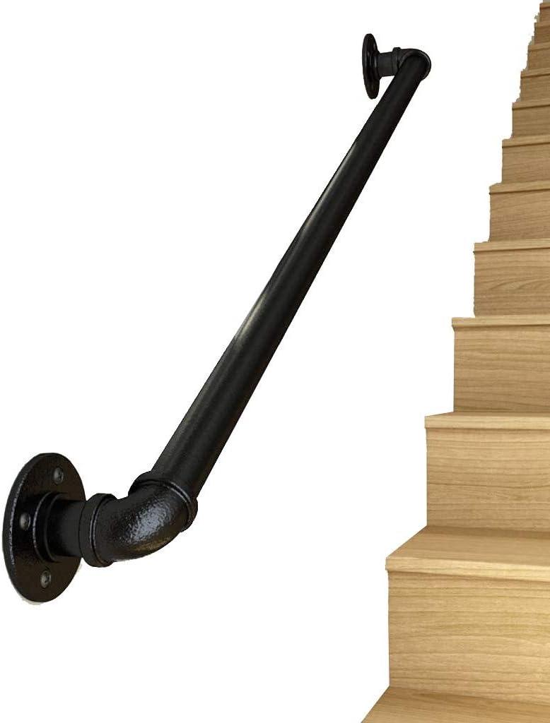 Pasamanos de escalera Pasamanos - Kit Completo.Profesional De Soporte Pared Negro Industrial Hierro Loft Pipe Pasamanos, Ático Con Pasillos Interiores Y Al Aire Libre Manijas Barandilla De La Escalera: Amazon.es: Hogar