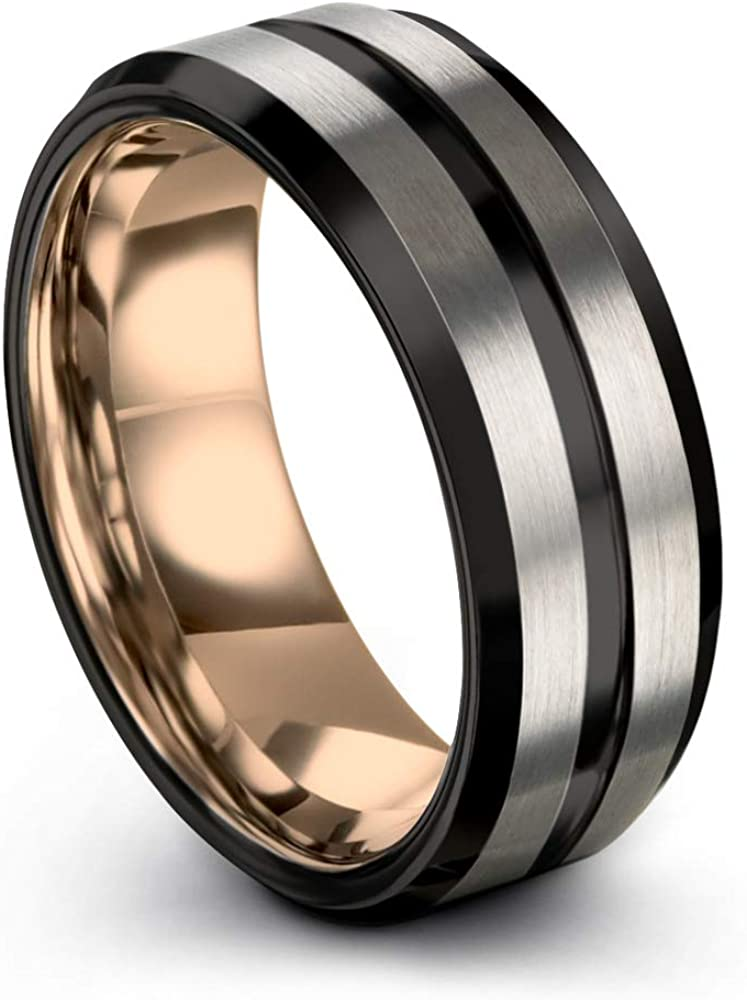 Midnight Rose Collection Tungsten Wedding Band Ring 8mm for Men Women 18k Rose Yellow Gold Plated Bevel Edge Black Grey Brushed Polished