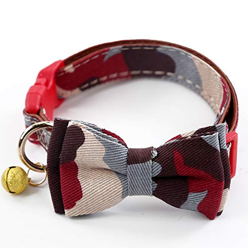 Yizepet Dog Collar with Bell- Cute Plaid Bowtie,Soft and Comfortable,Adjustable Bowtie Collar for Small/Medium/Large Dogs