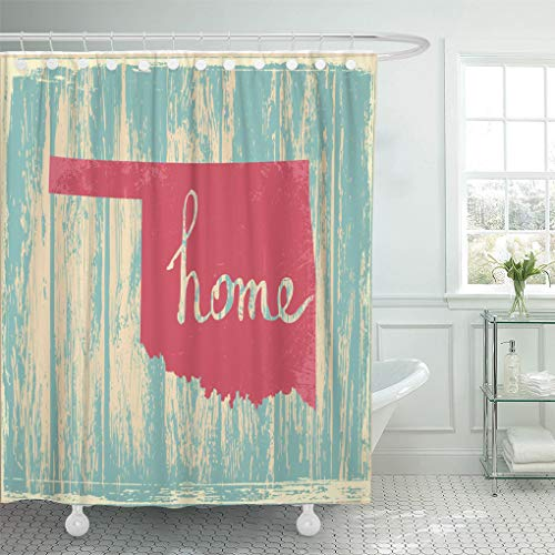 Semtomn Bathroom Decorative Shower Curtain Americana Oklahoma Nostalgic Rustic Vintage State Sign Proud America Waterproof with Hooks 72x72 Inches - Oklahoma State Printed Curtain