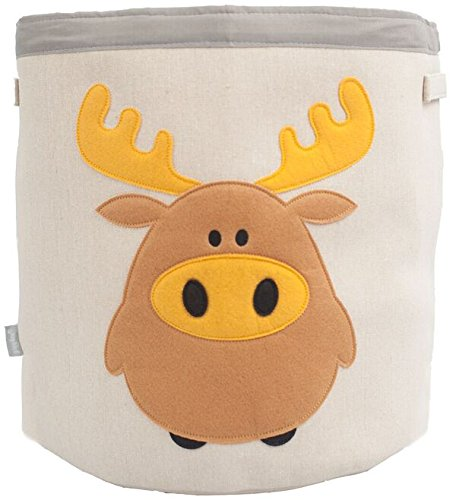 Grey Bee Animal Theme Collapsible Canvas Storage Bin for Kids, Brown - (Woodland Moose)