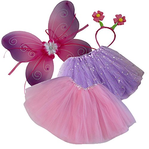 Girls Pink and Lavender Tutu, Butterfly Wing & Flower Headband Set