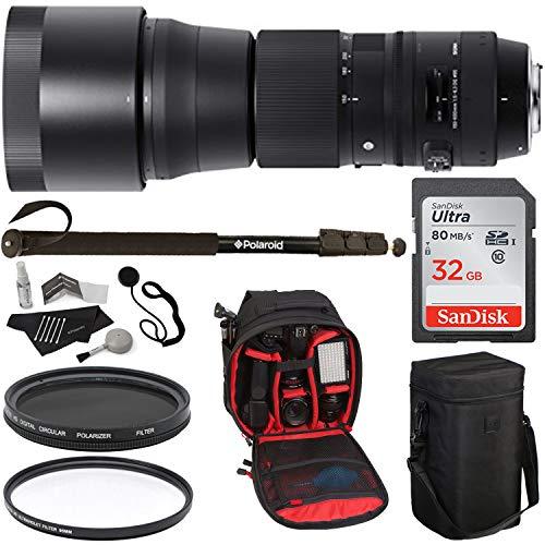 Sigma 745101 150-600mm F/5-6.3 DG OS HSM Contemporary Lens for Canon EF Cameras, 95mm UV Filter, 95mm Circular Polarizer Filter, 32GB Memory Card, Polaroid Bag, Monopod and Accessory Bundle