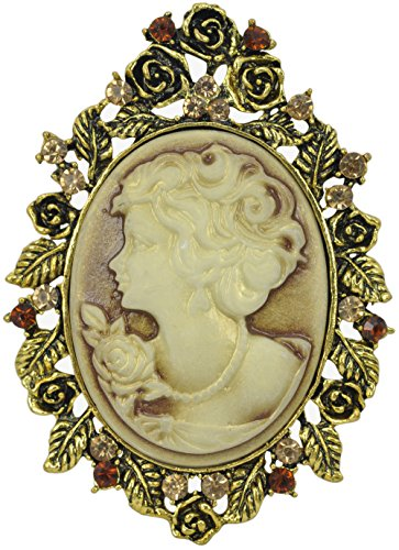 Gyn&Joy Brown Vintage Crystal Queen Lady Cameo Brooch Pin Maiden Flower Jewelry for Wedding BZ036