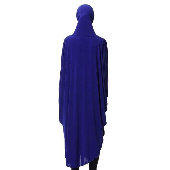 Mujeres Dama Diaria Casual Musulmán Manchado Largo De Manga Larga Vintage Fasion Vestidos, Beikoard Mangas Largas del Color Sólido Túnica del Hijab: ...