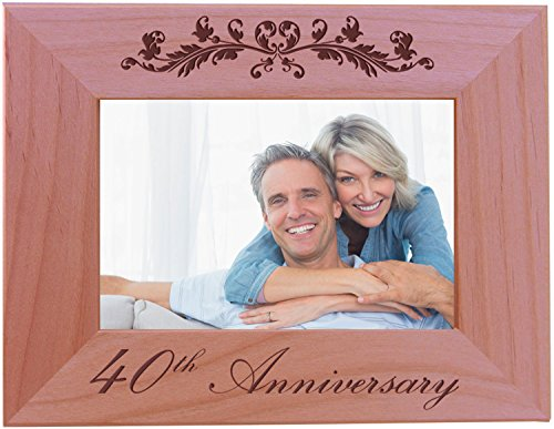 CustomGiftsNow 40th Anniversary - 4x6 Inch Wood Picture Frame - Great for Friends, Parents and Family
