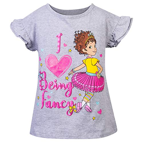 (Disney Fancy Nancy Girls T-Shirt Junior Girls Fancy Nancy Sleeve Sleeve T-Shirt (Grey/Pink, 2T))