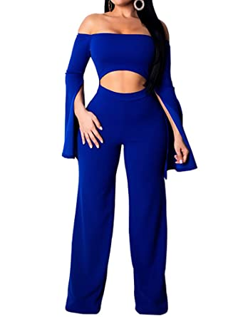7176cf93ff2 Romacci Women Off Shoulder Jumpsuit Cut Out Waist Slit Long Sleeves Bell  Bottom Casual Playsuit Rompers