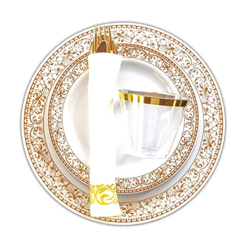 BLISSFUL DINING | 175 Pieces Disposable Gold Plastic Plates & Silverware Set: 25 Dinner Plates, 25 Appetizer/Dessert…