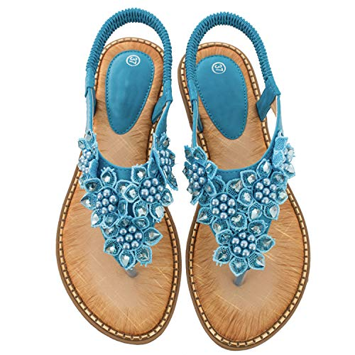 Blue Flower Flip Flops - Ruiatoo Comfort Sandals for Women Bohemia T-Strap Ladies Summer Flats Sandals Rhinestone Flower Flip Flops Blue 36